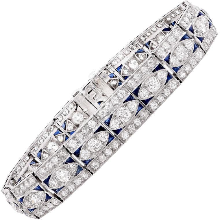 Art Deco 5.5 Carat Diamond and 2 Carat Sapphire Platinum Bracelet