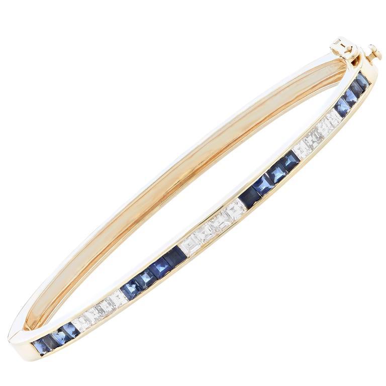 Sapphire And Diamond 18 Karat Yellow Gold Bangle Bracelet