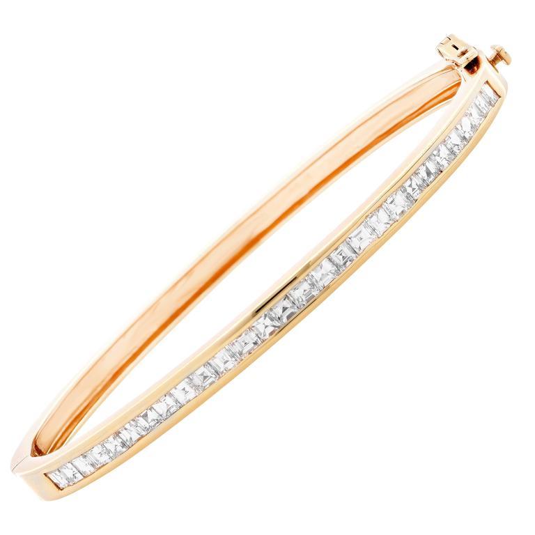 2.8 Carat Diamond Yellow Gold Bangle Bracelet
