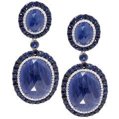Sapphire Diamond White Gold Earrings