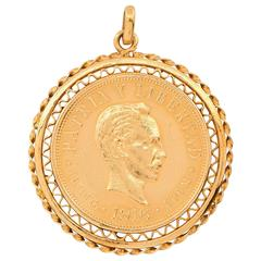 1916 Cuban Diez Pesos Gold Coin Pendant
