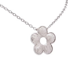 18 Karat White Gold Flower Pendant
