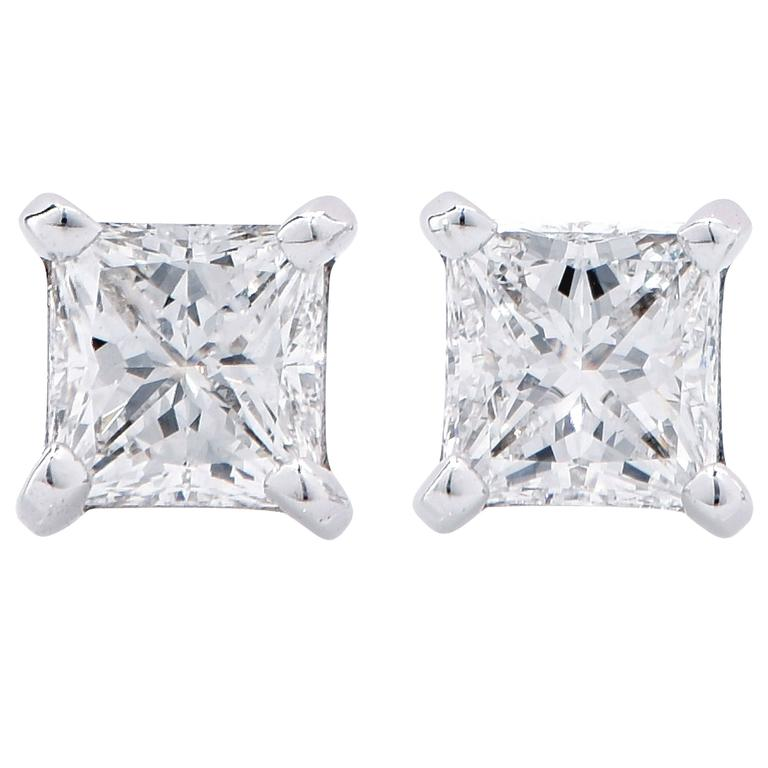 1 17 Carat E Vs1 Princess Cut Diamond Stud Earrings For