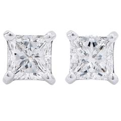 1.17 Carat E/VS1 Princess Cut Diamond Stud Earrings