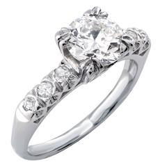 Vintage 1.05 Carat Vintage Platinum Engagement Ring