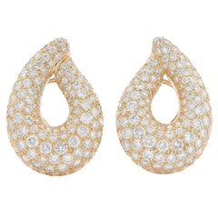 8.5 Carats Diamond Yellow Gold Loop Earrings