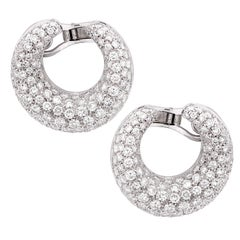 10 Carat Total Weight Diamond Bombe Crescent Form Clip Earrings
