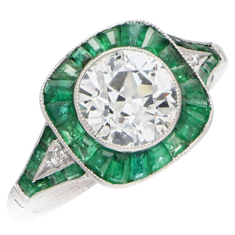 1.97 Carat GIA F/SI2 Old European Cut Diamond Emerald Ring
