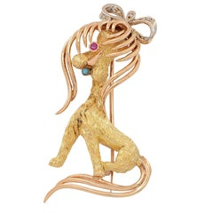 Poodle Dog Gold Brooch