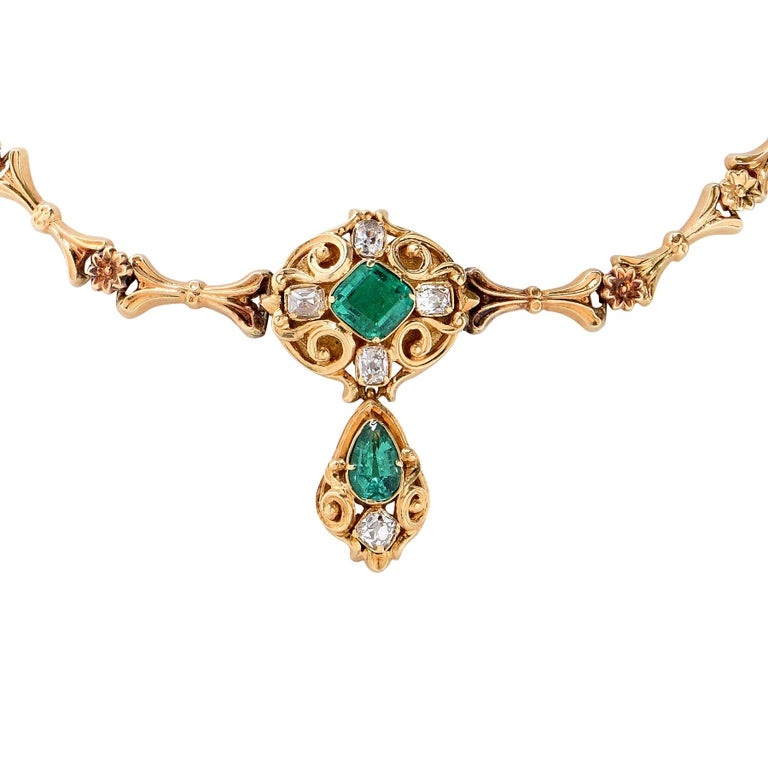 Antique Gold, Emerald and Diamond Necklace, circa 1850