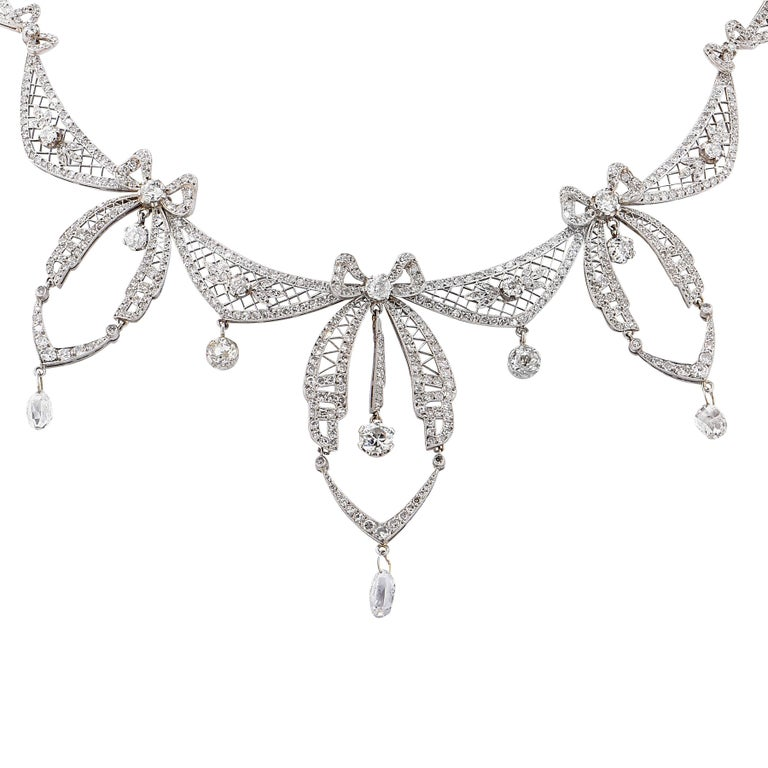 5.8 Carat Belle Époque Diamond Platinum Necklace For Sale