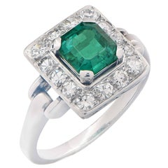 1.36 Carat Colombian Emerald No Treatment AGL Diamond Ring