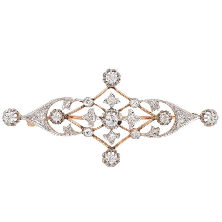 Delicate Diamond Art Nouveau Brooch