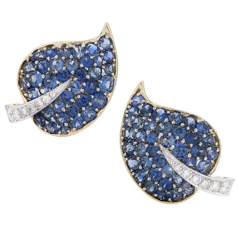 Van Cleef & Arpels Sapphire and Diamond Leaf Earrings For Sale