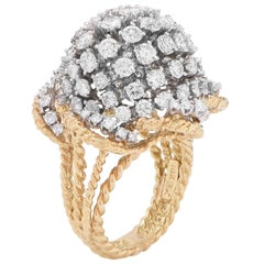 7.8 Carat Diamond Bombe Style 18 Karat Yellow Gold and Platinum Ring