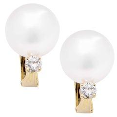 South Sea Pearl and Diamond Earrings