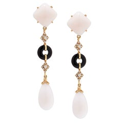 White Coral Onyx Diamond Drop Earrings
