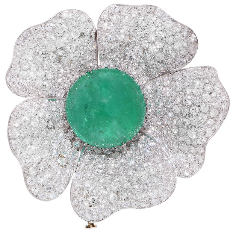 33.93 Carat Natural Cabochon Cut Emerald and 15 Carat Diamond Flower Brooch 1