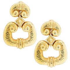 David Webb Large 18 Karat Yellow Gold Door Knocker Earrings