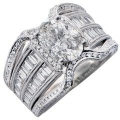 2.03 Carat Oval Cut GIA Graded Diamond Set in 18 Karat White Gold Cocktail Ring