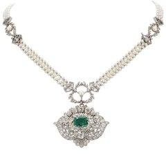 Exceptional Tiffany & Co., circa 1880 Emerald Diamond Pearl Necklace