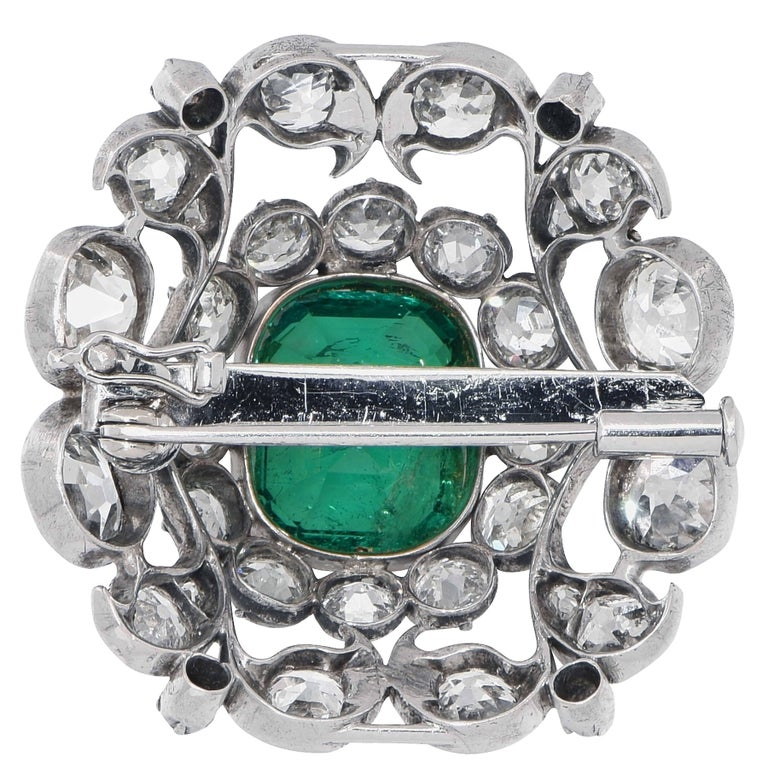 Imperial Brooch 5 31 Carat Emerald And Diamonds Of