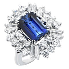 4.35 Carat Rectangular Cut Natural Sapphire Set in Diamond Ballerina Mounting