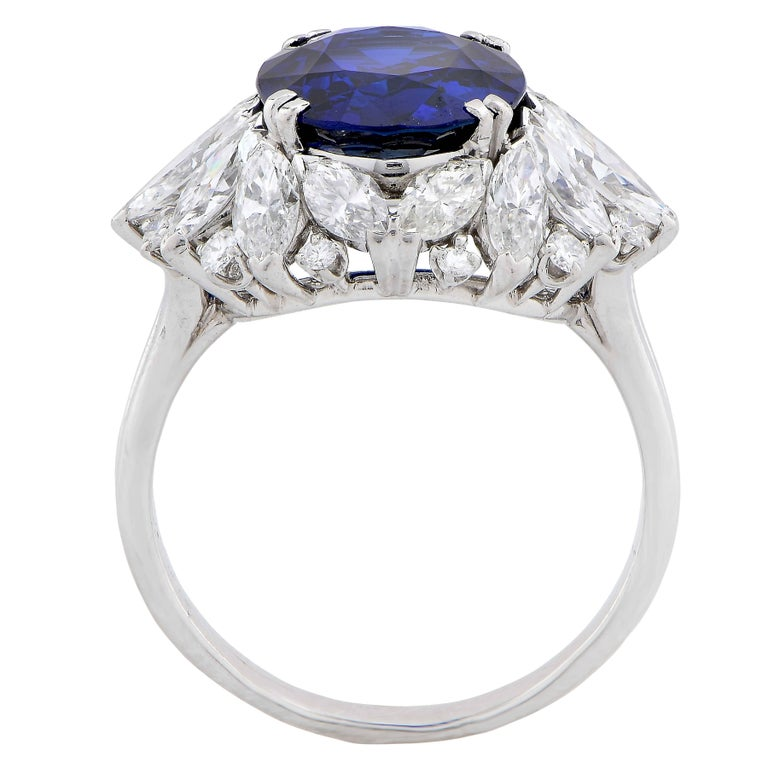 Harry Winston 5.78 Carat Natural Sapphire and Diamond Platinum Cocktail Ring For Sale 1