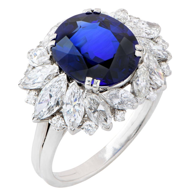 Harry Winston 5.78 Carat Natural Sapphire and Diamond Platinum Cocktail Ring For Sale