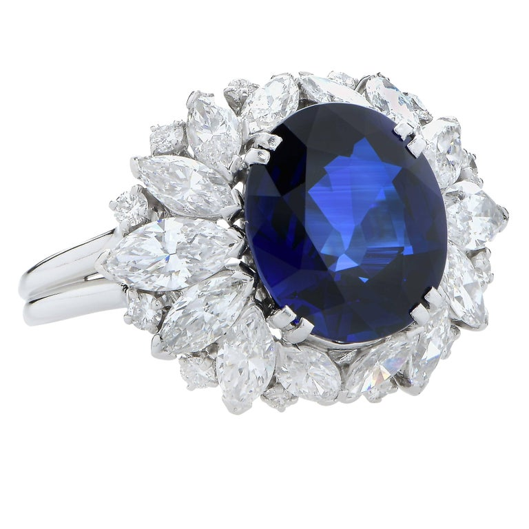 Women's or Men's Harry Winston 5.78 Carat Natural Sapphire and Diamond Platinum Cocktail Ring For Sale
