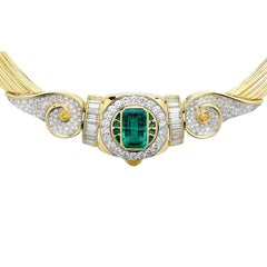 AGL Graded 4.4 Carat Colombian Emerald and Diamond Necklace