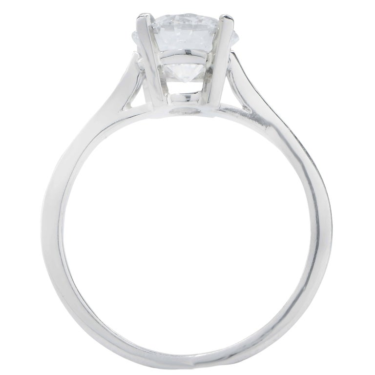 Cartier GIA Certified 1.60 Carat Round Diamond Engagement Ring In Good Condition For Sale In Coral Gables, FL
