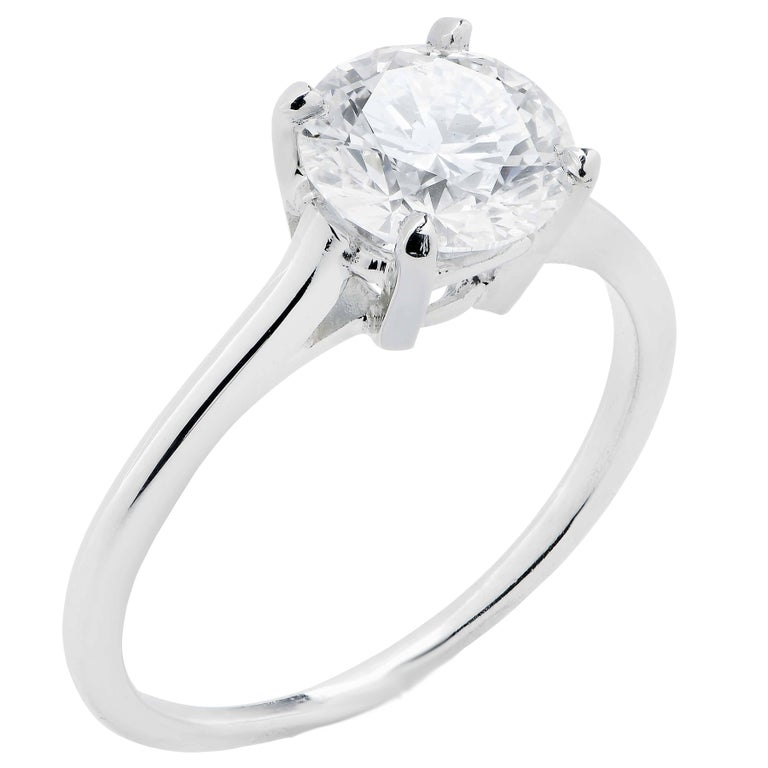 Women's Cartier GIA Certified 1.60 Carat Round Diamond Engagement Ring For Sale
