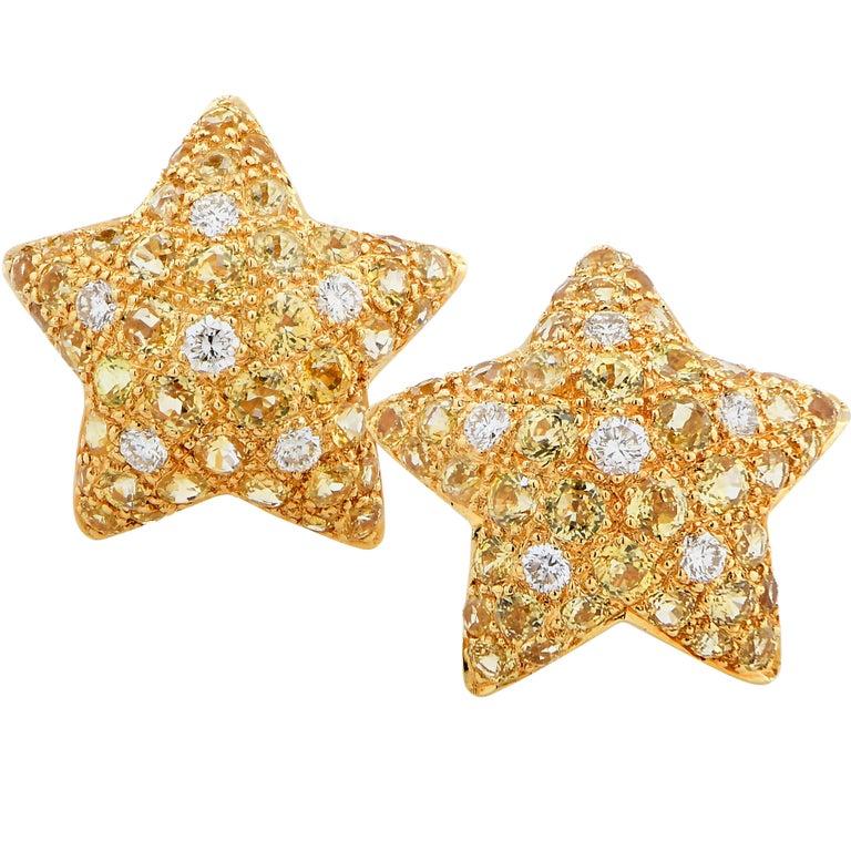 Starfish Motif Diamond and Citrine 18 Karat Yellow Gold Earrings