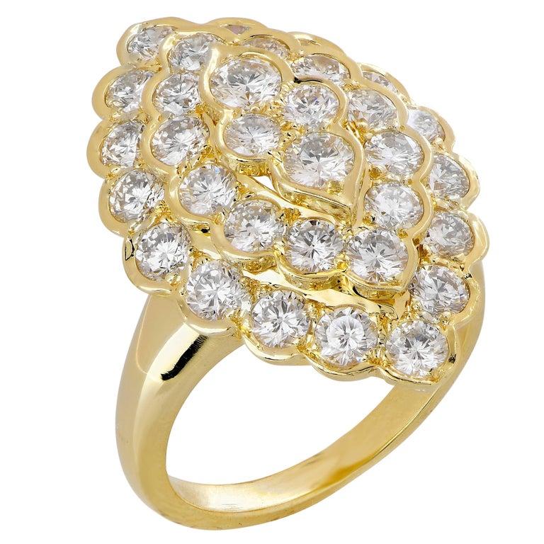 Van Cleef & Arpels Navette Shape Diamond Cocktail Ring in 18 Karat YG