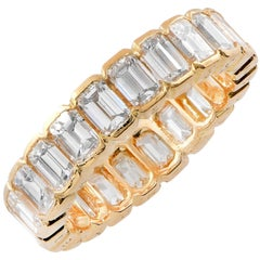 Chaumet Paris 4 Carat Emerald Cut Diamonds Eternity Band in 18 Karat Yellow Gold