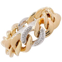 1.70 Carat Diamond and Yellow Gold Link Bracelet
