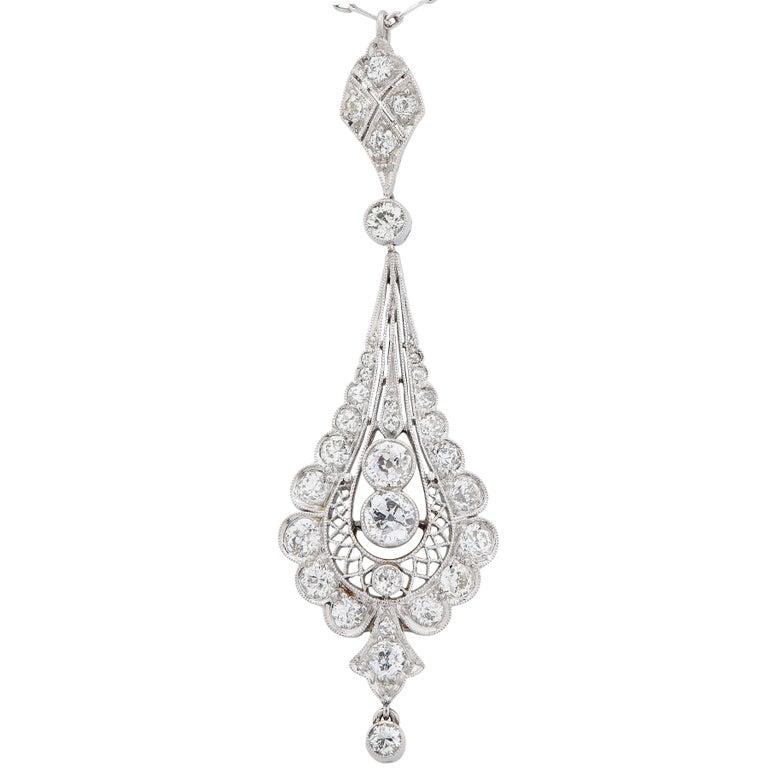 Edwardian 2 Carat Diamond Platinum Pendant Necklace For Sale