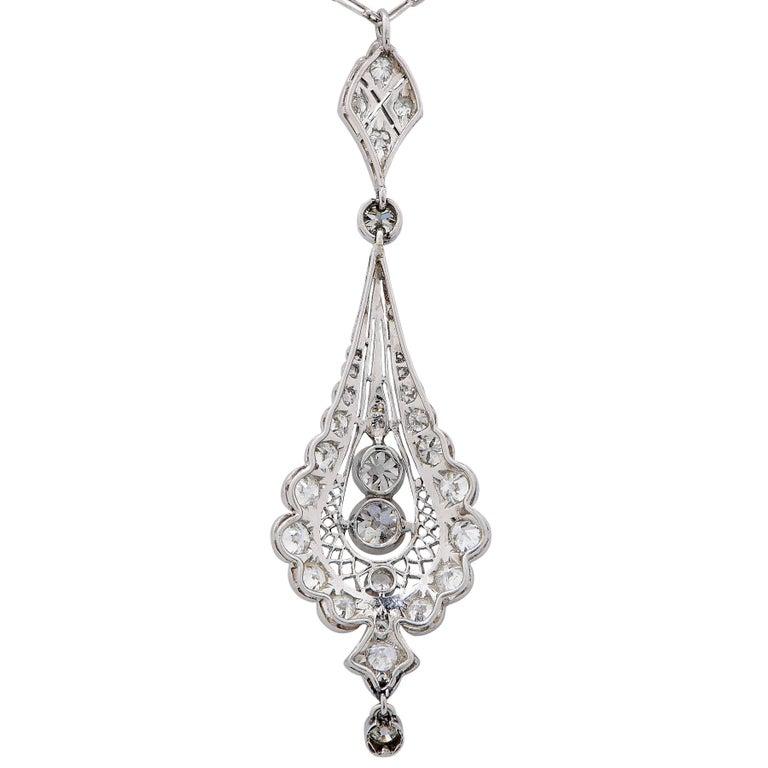 Old European Cut Edwardian 2 Carat Diamond Platinum Pendant Necklace For Sale
