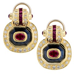Ruby, Sapphire and Diamond 18 Karat Yellow Gold Earrings
