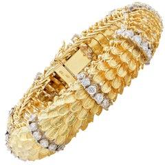 Two-Tone Gold and Diamond Bombe Scale Motif 18 Karat Yellow Gold Bracelet