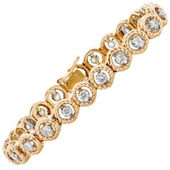 2.3 Carat Diamond Bracelet Set in 14 Karat Yellow and White Gold