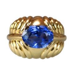 Boucheron 5.15 AGL No Heat Burma Sapphire Gold Ring