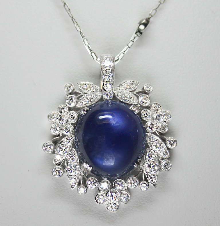 collections cut necklaces vintage inspired products pendant wave cushion grande saphire sea diamonds sapphire