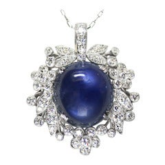 1940s Raymond Yard 15.83 Carat Star Sapphire Diamond and Platinum Pendant