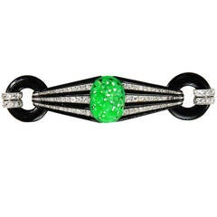 French Art Deco Jade Enamel Onyx Diamond Platinum Brooch