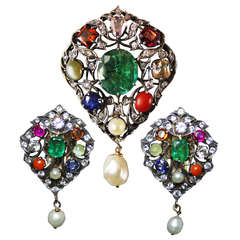 1800s Natural Fancy Orange-Pink Diamond Colored Stones Pendant and Ear Clips