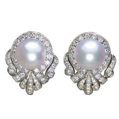 Pearl and 2.3 Carat Diamond Earrings by Balogh