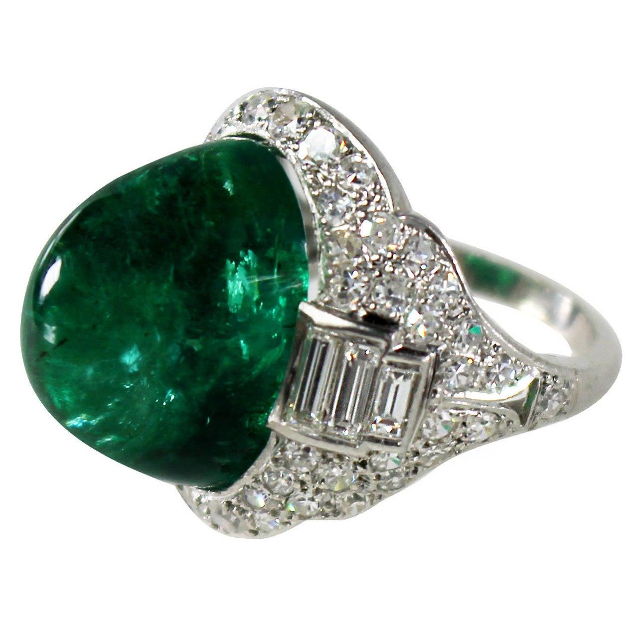 deco sugarloaf cabochon emerald ring