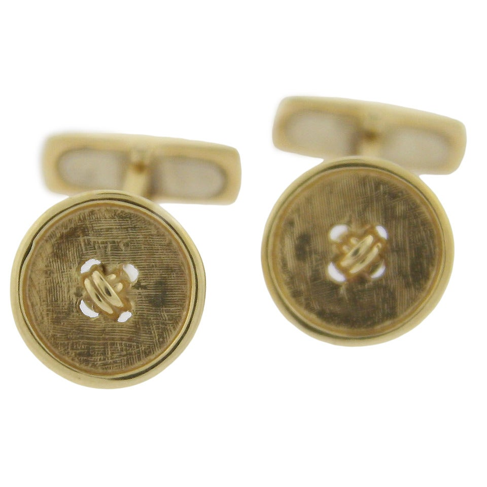 Yellow Gold Button Cufflinks For Sale at 1stdibs